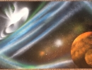 ITEM#: M039 - Blue/Orange Blackhole - Spray Paint Art for Sale
