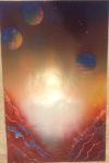 ITEM#: M014 - Burnt Ocean Planet - Spray Paint Art for Sale