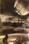 ITEM#: M008 - Black & White City Wolf - Spray Paint Art for Sale