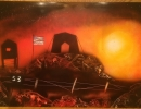ITEM#: M016 - Military Base Sunset - Spray Paint Art for Sale