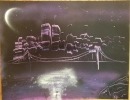 ITEM#: S009 - Nighttime Purple City - Spray Paint Art for Sale