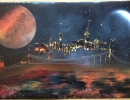 ITEM#: M028 - Nighttime City - Spray Paint Art for Sale