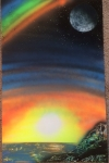 ITEM#: M032 - Rainbow Sunset - Spray Paint Art for Sale