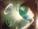 ITEM#: S018 - Green Planets - Spray Paint Art for Sale