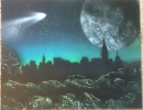 ITEM#: S020 - Teal City - Spray Paint Art for Sale